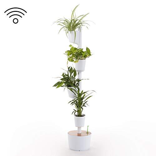 Citysens - Vertikaler Garten mit Smarte Erd-Bewässerungs-System, Weiß, 4 Pflanzgefäß