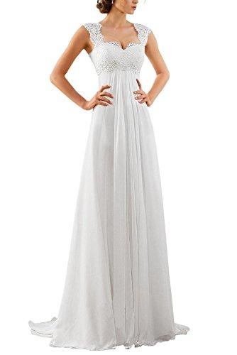 Erosebridal Spitze Chiffon Strand Hochzeitskleid Empire-Taille Mit Schlüsselloch Zurück Weiß DE36