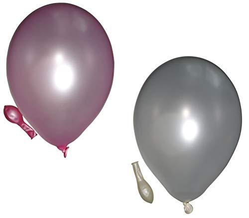 50 metallic Luftballons je 25 weiß & rosa Qualitätsballons 27 cm Ø (Standardgröße B85)