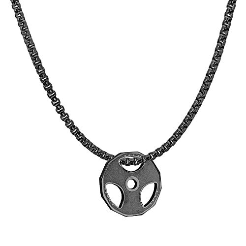 tumundo® Halskette Anhänger Hantel-Scheibe Gewicht Fitness Sport Bodybuilding Boxhandschuh Kurzhantel, Artikelform:Halskette + Anhänger - schwarz