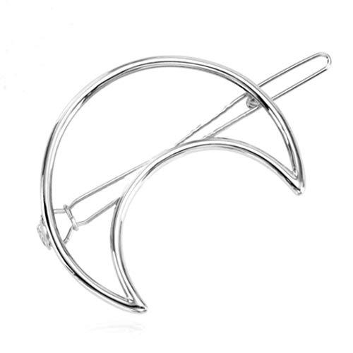 KISSFRIDAY übertrieben Dreieck Mond Kreis Haarnadel geometrische Haarschmuck (Silber)