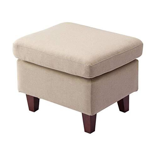 Yxsd Taburete de madera para zapatos, taburete cuadrado cuadrado con reposapiés tapizado, disponible en beige para la sala de estar, pasillo resistente, máx. 150 kg, 55 x 45 x 43 cm