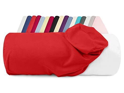 npluseins Jersey-Kissenhülle für Nackenrollen in 17 Farben - 100% Mako-Baumwolle - Einheitsgröße ca. 40 x 15 cm, Bezug in rot