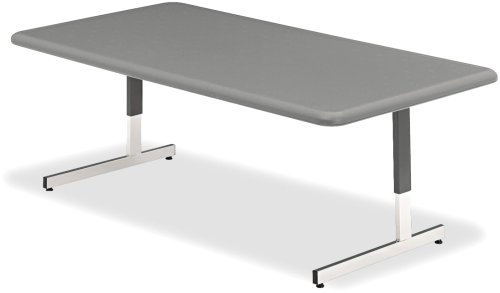 Iceberg ICE65737 IndestrucTable TOO Adjustable Height Resin Utility Table 48 Length x 24 Width 21-31 Height Charcoal