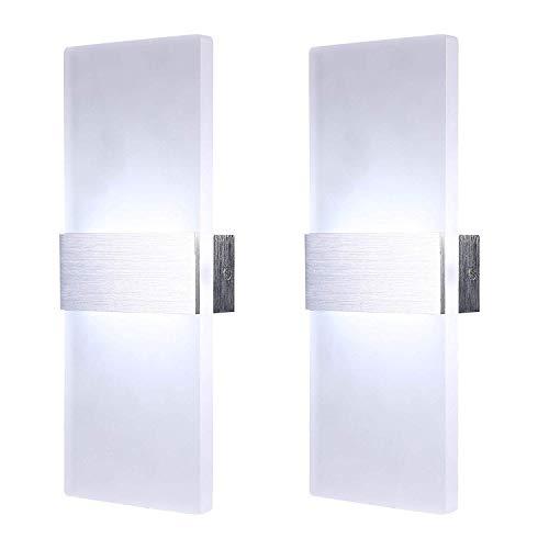 NARUJUBU Lámpara de Pared Moderna Paquete de 2, Luces de Pared de 12W LED Arriba y Abajo Iluminación de Pared Blanca para la Sala de Estar Cocina Loft Escaleras, Blanco frío