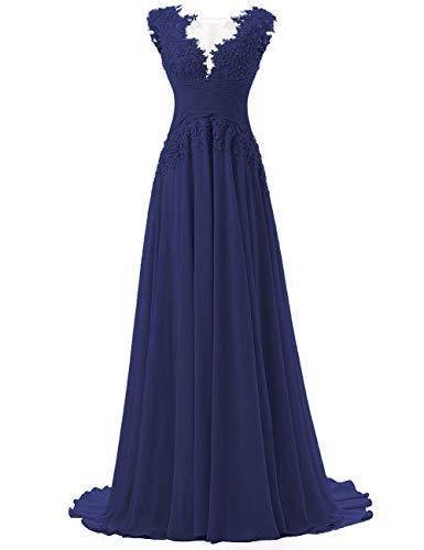 Abendkleider Lang A-Linie Ballkleider Chiffon Brautmutterkleider Spitzen Hochzeitskleid Empire Festkleider Königsblau 54