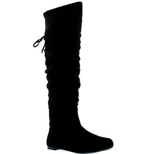 Mujer Equitación Muslo Invierno Biker Zapatos Moda Alto Pirata Botas - Negro Suede - UK5/EU38 - KL0043I