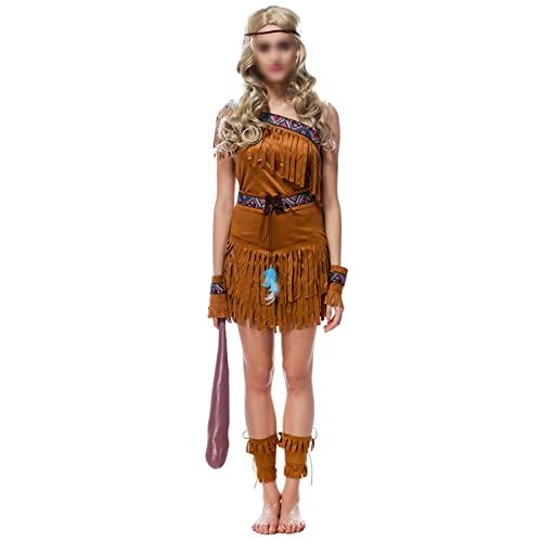 NASTON Disfraz aborigen de Halloween Traje aborigen, Disfraz de Cazador de Bosque Tribal Salvaje,Marrn,M