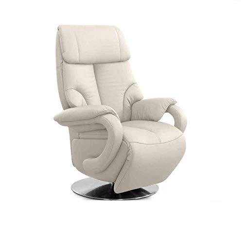 CAVADORE Ledersessel Istanbul / Fernsehsessel mit Aufstehhilfe, elektrisch verstellbarer Relaxfunktion / 2 E-Motoren / 80 x 115 x 79 / Echtleder: Weiß