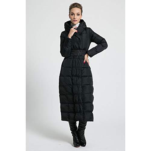 GDRFHJZ Winter De nieuwe vrouwen lang donsjack met capuchon maat blauw plus maat verdikking bovenkleding mantel