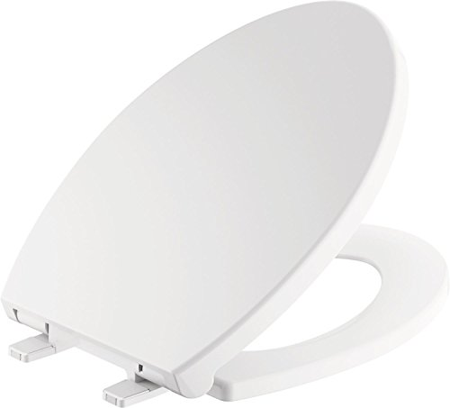 Delta Faucet Morgan Elongated Slow-Close White Toilet Seat with Non-Slip Seat Bumpers, White 811903-WH