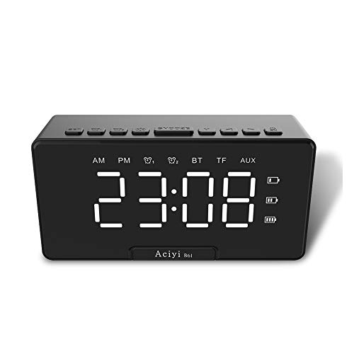 Mini Clock Alarm Bluetooth Speaker, Dual Alarm Clock Military time, can be Used as a Mobile Phone Stand (Black)