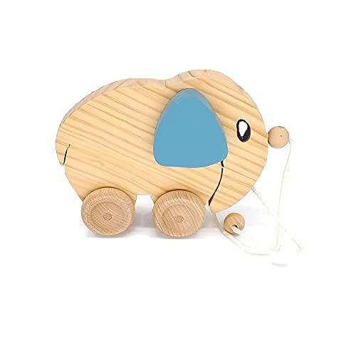 Arrastre Elefante para bebés , Juguete Ecológico de Madera, Regalo bebé