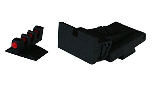 Best Bargain Bomar Style Adjustable Sight Set - Black Square Rear/Red Fiber Optic Front