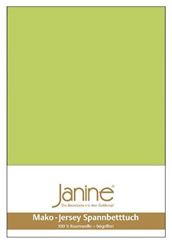 Janine Spannbetttuch 5007 Mako Jersey 180/200 bis 200/200 cm apfelgrün Fb. 56
