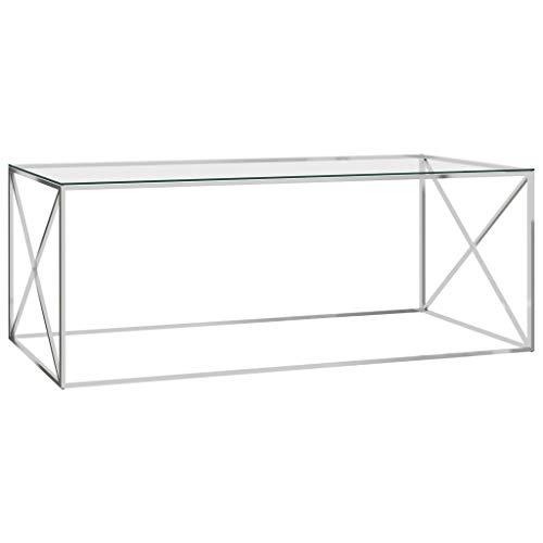Wakects Mesa de centro de diseño moderno en forma de X, mesa auxiliar de acero inoxidable y cristal transparente, 120 x 60 x 45 cm, mesa de café, mesa de salón