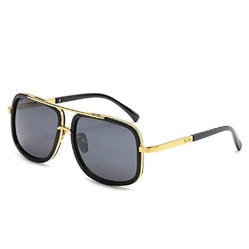 MINQY Oversized Square Sunglasses for Men Women Pilot Shades Gold Frame Retro Brand Designer (Black)