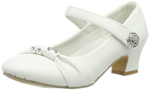 Festliche Mädchen Pumps Ballerinas Schuhe Absatz Strass M836ws Weiß 22