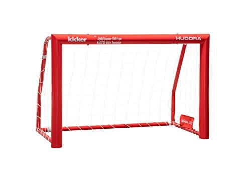 HUDORA Kinder & Erwachsene Fußballtor Expert 120 Edition | Garten Fußball-Tor aus Stahl im exklusiven Kicker Design, rot