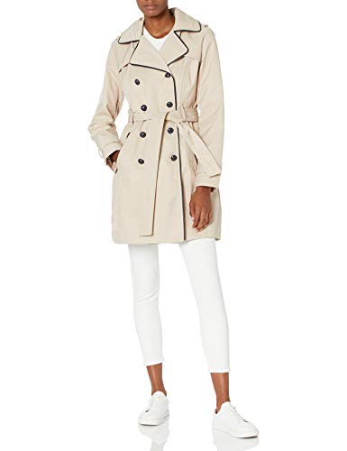 Guess Damen Double Breasted Trench Coat with Contrast Trim Trenchcoat, Khaki, Medium