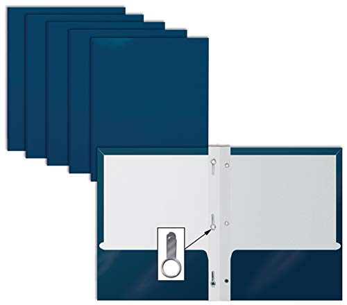 2 Pocket Glossy Navy Blue Paper Folders with Prongs, by Better Office Products, Letter Size, High Gloss Navy Blue Paper Portfolios with 3 Metal Prong Fasteners, Box of 25 Glossy Dark Blue Folders