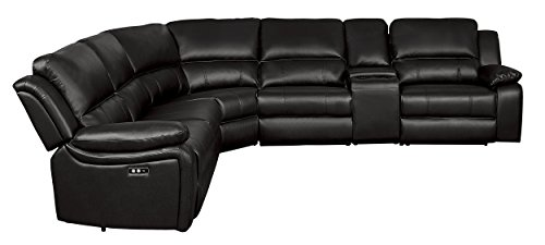 Homelegance 8260DB6PW Power Reclining Sectional Sofa with Storage Console, 120' X 136', Dark Brown Faux Leather
