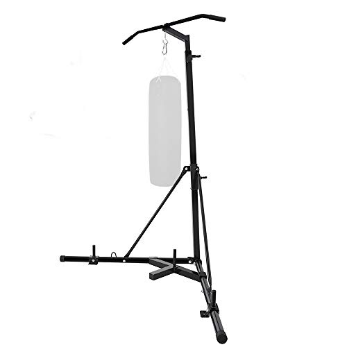 Weanas Folding Heavy Bag Stand Portable Freestanding Sandbag Rack Height Adjustable Heavy Duty Corner Punching Bag Stand with Pull-up Bar
