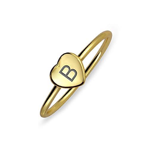 Pequeño minimalista Abc corazón forma monograma script o bloque letra alfabeto A-Z inicial monograma signo anillo para adolescente para mujeres 14K oro chapado 925 plata esterlina
