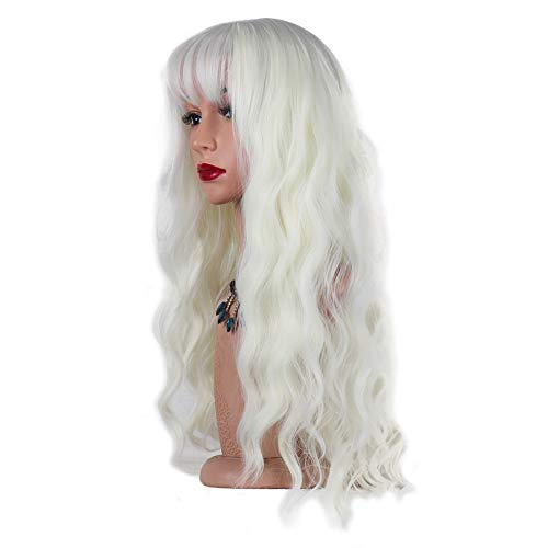 Monitu Hair Long Wavy Wigs for Women Synthetic Wigs with Bangs Heat Resistant Synthetic Fibers Wig Hair Replacement Wig for Party Cosplay and Daily use (White)