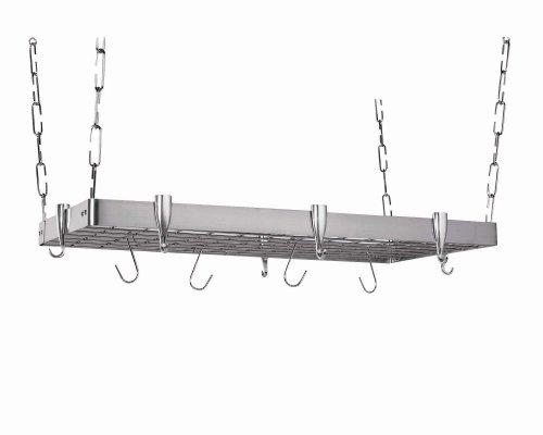 Concept Housewares Stainless Rectangular Pot Rack Gray 36 inch