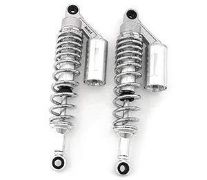 Silver & Chrome Remote Reservoir Shocks - Eye To Eye - 340-350mm - Compatible with Yamaha RD250 RD350 XS360 XT650