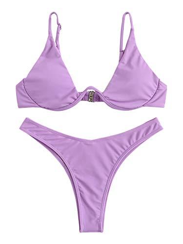 Verdusa Women's Sexy Triangle Bathing Two Pieces Swimsuit Bikini Set Lavender S