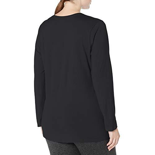 Just My Size Women's Plus Size Vneck Long Sleeve Tee, Ebony, 2X