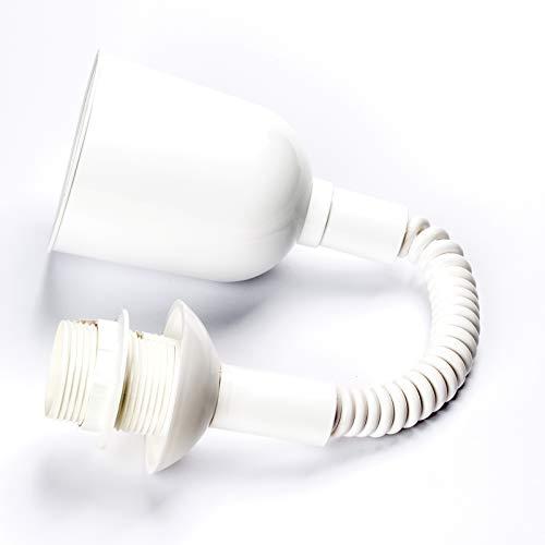 Leuchtenpendel, Länge 400-1200 variabel, Lampenaufhängung mit Spiralkabel, E27 Fassung mit Schraubring, max. Belastung 5 kg, Zugpendel, Kunststoff, Weiß