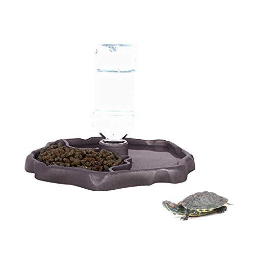 X-zoo - Cuencos para reptiles anfibios, accesorios de tortuga, 2 en 1, plato de alimentación de reptiles, dispensador automático, plato de agua, color marrón oscuro