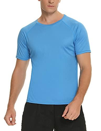 Wayleb Camiseta Manga Corta Hombre Verano Cuello Redondo Camiseta Deporte Básica T-Shirt Casual Tops Secado Rápido Fitness Jogging Gimnasio Corriendo,Azul,L