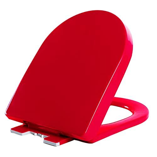 YHMT Tapa WC,Tapa de Inodoro con Cierre Suave,Asiento de Inodoro Ovalado con Función de Liberación Rápida,Rojo Azul Naranja Opcional (Color : Red)