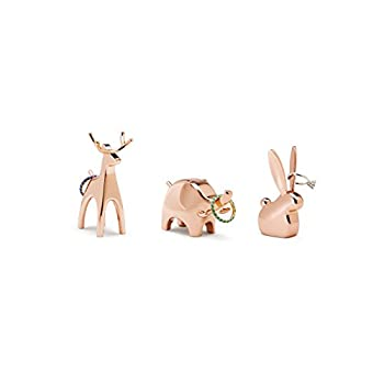 Umbra Anigram Animal Ring Holder for Jewelry  3-Pack containing Bunny Reindeer and Elephant  Copper 3 PACK