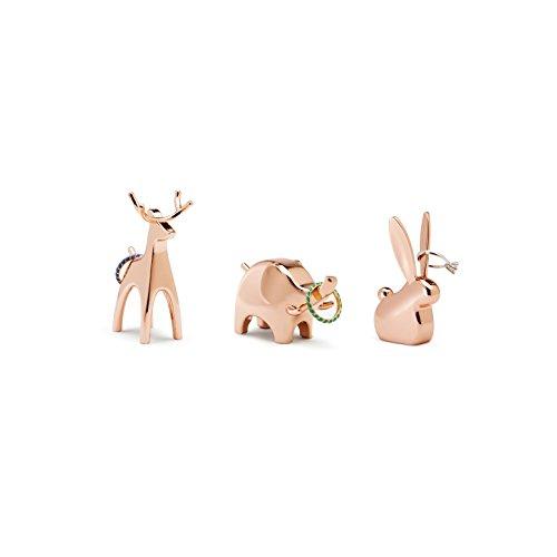 Umbra Anigram Ringhalter – Modernes Ringablage 3er-Set Bestehend aus Hase, Elefant & Rentier, Perfektes Gastgeschenk, Metall / Kupfer
