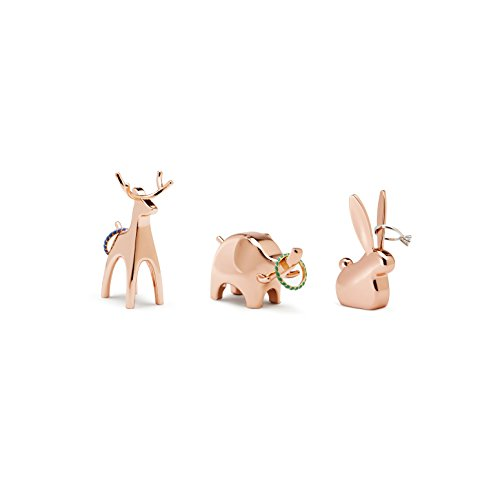Umbra Anigram Animal Ring Holder for Jewelry (3-Pack containing Bunny, Reindeer and Elephant), Copper
