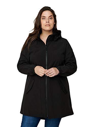 Zizzi Damen Große Größen Softshell Jacke mit Kapuze und Reißverschluss Gr 50 (Herstellergröße: L) Schwarz