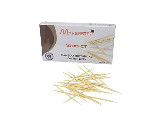 Makerstep 100% Natural Bamboo Toothpicks 1000 Pieces Sturdy Cocktail Safe Large Round Storage Box Party Appetizer Olive Barbecue Fruit Teeth Cleaning Art Crafts