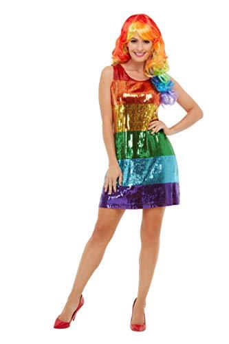 Smiffys 51001L Glitzer-Regenbogen-Kostüm, Damen, mehrfarbig, Größe L