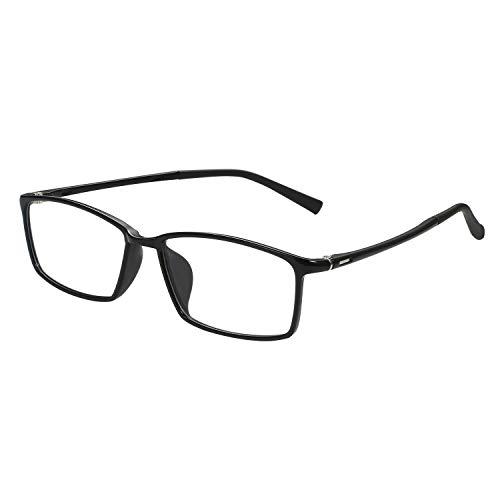 Aroncent Herren-Brille für Damen, durchsichtige Glas, quadratisch, ultraleicht, Farbe wählbar Schwarz