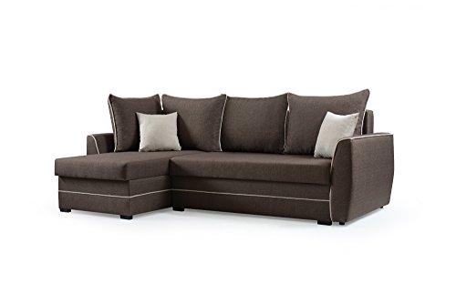 mb-moebel Ecksofa Sofa Eckcouch Couch mit Schlaffunktion und Bettkasten Ottomane L-Form Schlafsofa Bettsofa Polstergarnitur - Roxy (Ecksofa Links, Braun)