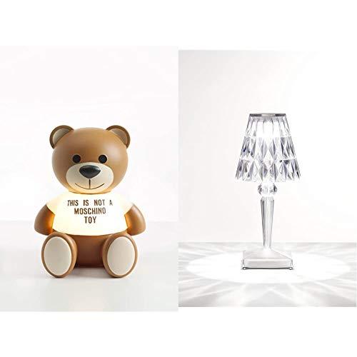 Kartell Toy Moschino Lampada da Tavolo 1.2 W, Marrone, 25 x 30 x 24 cm & Battery Lampada da Tavolo, Trasparente(Cristallo), 12 x 26 x 12 cm