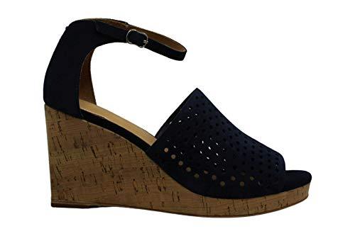 Bill Blass Womens Zelda Peep Toe Ankle Strap Wedge Pumps, Navy, Size 9.0