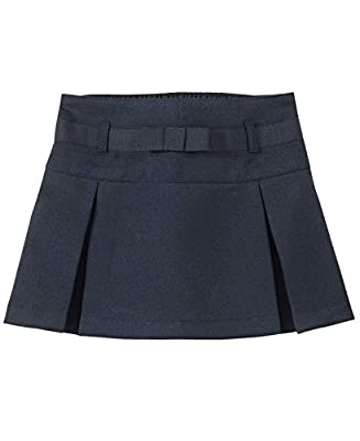 Nautica Girls' Toddler School Uniform Pleated Scooter with Pockets, Navy/Bow, 4T