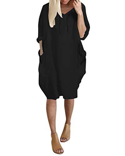 Kidsform Mujer Sudadera con Capucha Talla Grande Sudadera Vestido Manga Larga Casual Hoodie Jersey Larga P-Negro XL