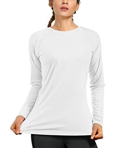 Women's UPF50+ Long Sleeve UV Sun Protection Shirts Quick Dry Rash Guard Swim Outdoor T-Shirt for Fishing Running Workout White